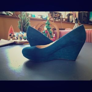 Worn once dark teal suede wedges. Nine West shoes
